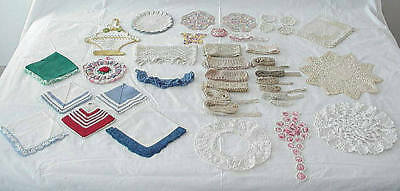 Vintage Lot Colored Lace Trim Potholders Doilies Crafts Sewing Dolls