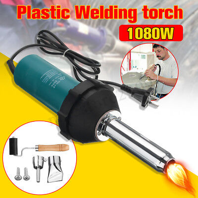 1080W Hot Air Gas Torch Plastic Heat Welding Gun Welder Pistol Tools Kit Nozzle