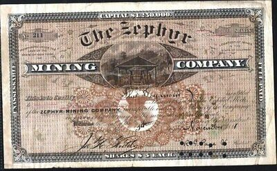 Zephyr Mining Co Of Colorado, 1881, Cancelled Stock Certificate