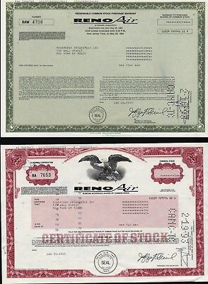 2 Reno Air Of Nevada, 1 Purchase Warrant + 1 Stock Certificate
