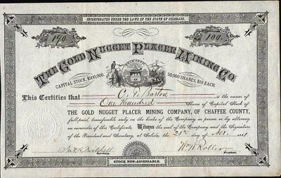 Gold Nugget Placer Mining Co, Salida, Co, 1881, Uncancelled Stock Certificate