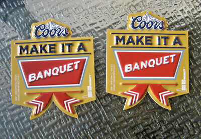 New ( 2 Lot) Bottle Sign COORS Banquet Beer Christmas Ornaments Decoration NOS