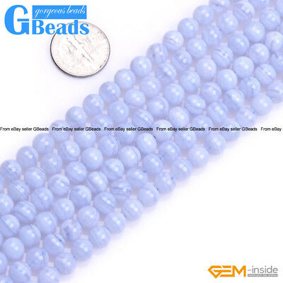 Natural Stone Blue Chalcedony Gemstone Round Beads Free Shipping Strand 15""