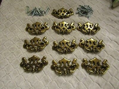 Vintage ILCo Unican Brass Drawer Pulls Cabinet Furniture Handles Set 10 NOS 1985