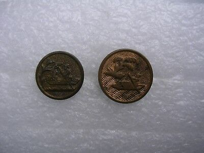 Rare Antique Lot of 2 Golden Age Gilt Asian Motif Brass Buttons Man in Boat Lake