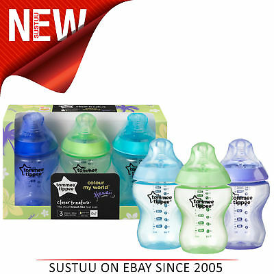 Tommee Tippee Closer to Nature Colour My World Bottle Blue 260ml 3Pk│Anti Colic