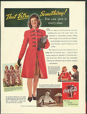 On campus or off That Extra Something Coca-Cola ad 1943