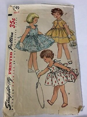 Little Girls One Piece Dress & Jacket Sz2 Simplicity 1149 Vintage Sewing Pattern