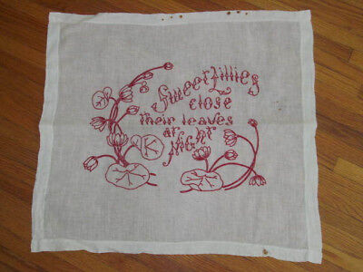 Antique Redwork Embroidered Pillow Sham Wall Hanging~Red Embroidery LILLIES