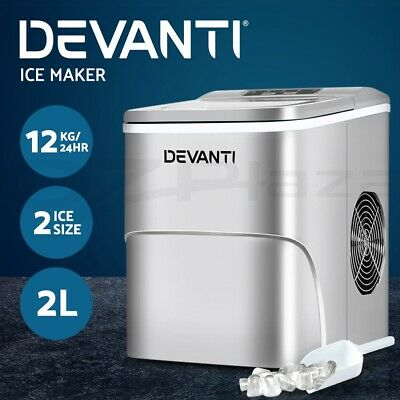 DEVANTi Portable Ice Cube Maker Machine 2L Home Bar Benchtop Easy Quick Silver
