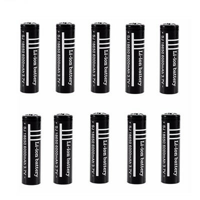 Black 3.7V 6000mAh 18650 Li-ion Rechargeable Battery For LED Torch Flashlight