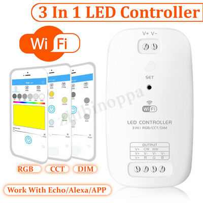 3IN1 Smart Dimmer RGB/CCT LED Light Controller WiFi APP Control For Alexa Google
