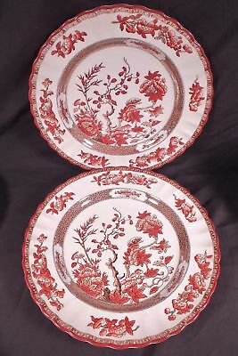"""Two Copeland Spode India Tree Old Mark Dinner Plate 10 1/2"""" Made In England"""
