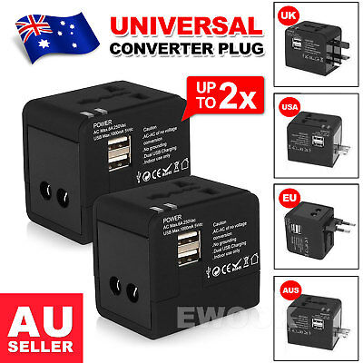 Universal Travel Adapter Dual 2 USB Plug Charger AC Power UK US EU AU