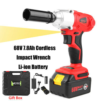 68V 7.8Ah Cordless Impact Wrench Li-ion Battery High Torque Charger Power Tool