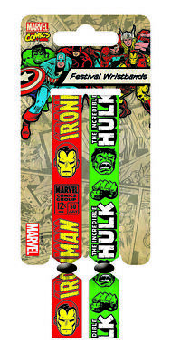 Marvel Comics Festival Wristband 2-Pack Iron Man & Hulk Pyramid Bracciali