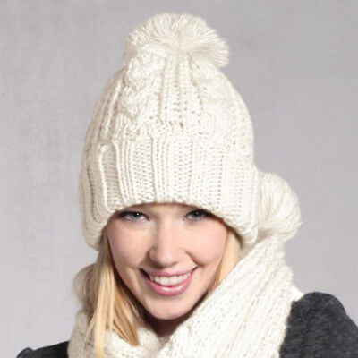 Women Girl Knitted Scarf and Beanie Cap Pompom Hat Set Winter Warm Thick Hat Cap