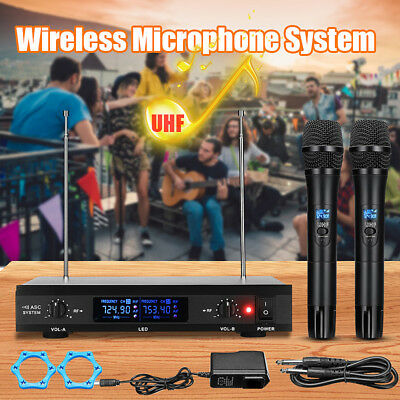 Professional Wireless Microphone System UHF Handheld 2x Mic Cordless Receiver