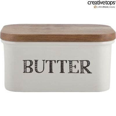 Creative Tops Stir It Up Ceramic Ivory White Butter Dish With Wooden Lid