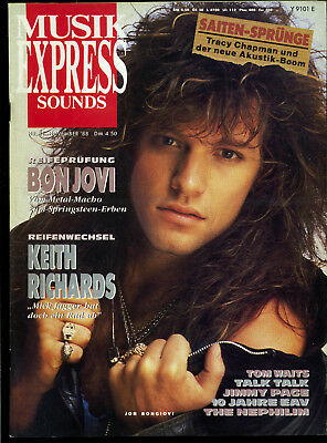 Musik Express Sounds -- 1988 - Nr. 11 -- Bon Jovi -- Keith Richards --