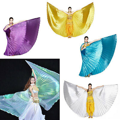 AU Shimmer Belly Dance Wings Costume Shining ISIS WINGS Dance Wear Solid Colours