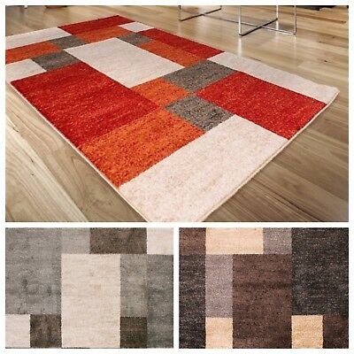 Modern Bali Distressed Square Blocks Pattern Design Quality Room Mat Area Rug