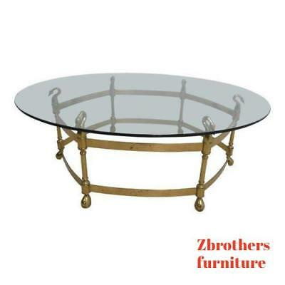 Quality Vintage Brass Swan Neck Round Glass Top Coffee Table