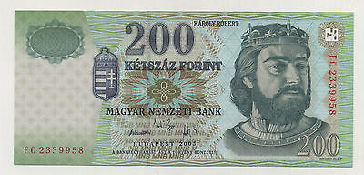 Hungary 200 Forint 2005 Pick 187.e UNC Uncirculated Banknote