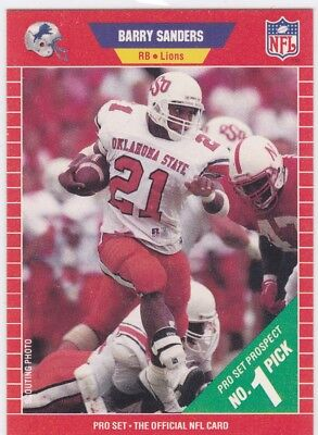 1989 Pro Set Football Barry Sanders Rookie Card 494