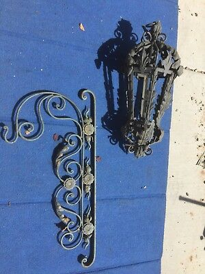 Antique Spanish/French Wrought Iron Lights Lanterns Sconces With Wall Mount-read