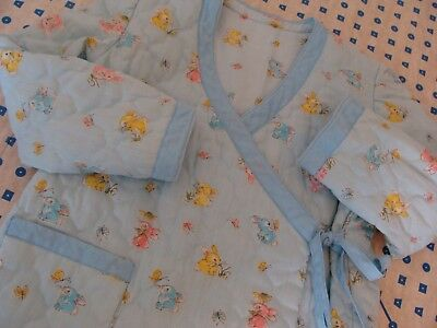 Vtg Bunny Butterfly Childs Quilted Blue Toddler Nightgown Bed Robe Boy Girl 2 3T