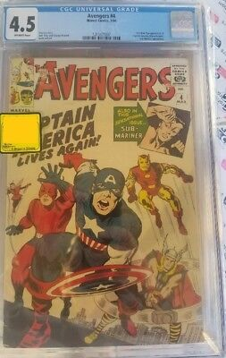 Avengers #4 CGC 4.5 1st Capt America in Silver Age Story Stan Lee Art Jack Kirby