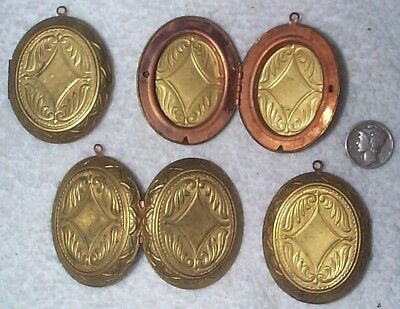 Vintage Large Engraved Surface Brass Oval Lockets With Ring 4 Pieces