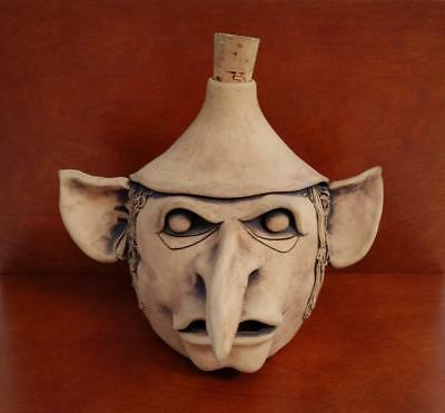"""Wicked Vintage 70's-80? Art Pottery Sculpture FACE Jug 8"""",Signed """"R"""" w/ Heart ??"""