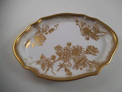 Vintage Hammersley Bone China England Gold Flower Change Trinket Dish