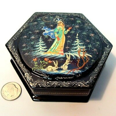 Vintage Russian Black Lacquer Enameled Box Signed, Princess & Rabbits, Ussr