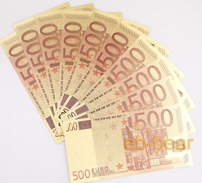 10 Pcs Color Gold Banknotes 500 Euros Paper Money Crafts Gift Beautiful New