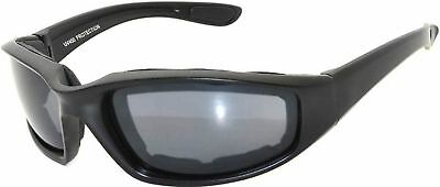 OWL Motorcycle Padded Foam Glasses Smoke Mirror Clear Lens (Blk_Smk_Polarized, P