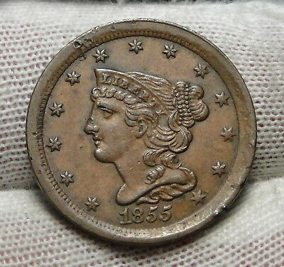 1855 Braided Hair Half Cent - Rare Only 56,500 Minted . Nice Coin (6856)
