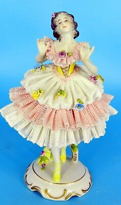 Dresden Volkstedt Figurine German Lace Porcelain Figurine Ballerina/Dancer  7.5""