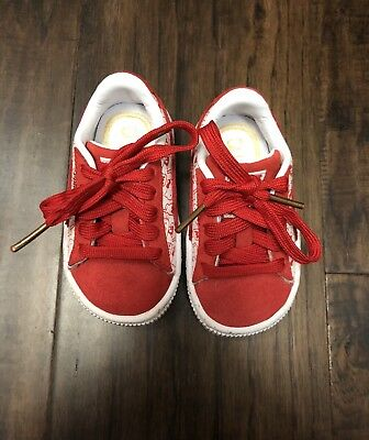68f08987444 Puma Suede Classic X Baby Toddler Girls Size 4 Hello Kitty Red And White