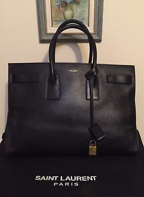 d3cdd998145 AUTHENTIC YSL YVES Saint Laurent Large Navy Leather Sac De Jour Bag ...
