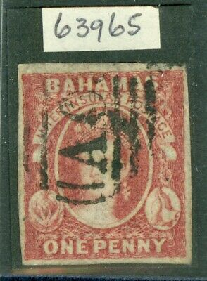 SG 2 Bahamas 1859-60 imperforate 1d dull lake on thin paper. Very fine used...