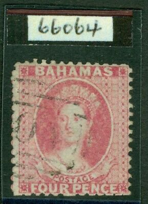 SG 18 Bahamas 1862. 4d dull rose, no WMK, perf 13. Very fine used by a light...