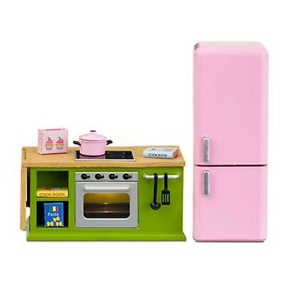 Lundby Dolls House Green Kitchen Furniture Cooker Oven Fridge Set 1:18 Scale