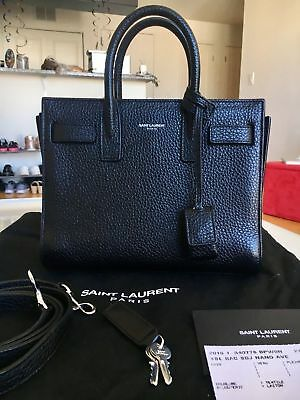 3400ef2e8ef YSL Yves Saint Laurent Paris Nano Sac De Jour Bag in Black Grained Leather