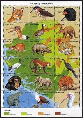 Sierra Leone 1261 at sheet,1262,MNH.Mi 1479-1496 klb,Bl.134. Wildlife 1990.