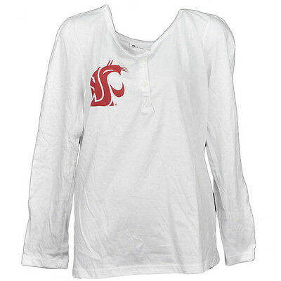 NCAA Washington State Cougars Blanc Femmes Manches Longues Tshirt Col Rond Grand