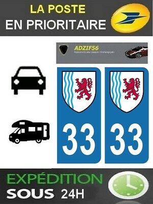 2 Stickers Plaque Auto Immatriculation Departement 33 Region Nouvelle Aquitaine