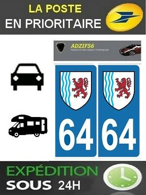 2 Stickers Plaque Auto Immatriculation Departement 64 Region Nouvelle Aquitaine